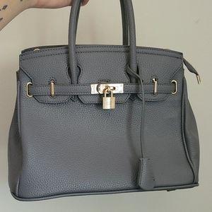 Structured Grey Satchel Handbag